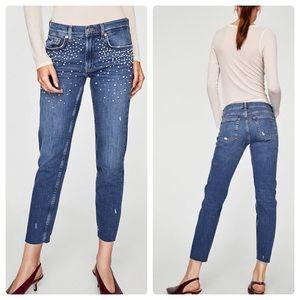 Zara Boyfriend Pearl Jeans